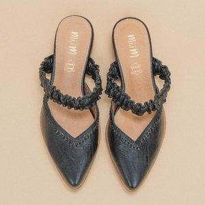 Pointed Ruffle Strap Mules
